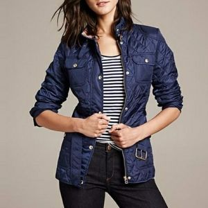 Banana Republic Navy Quilted Field Jacket